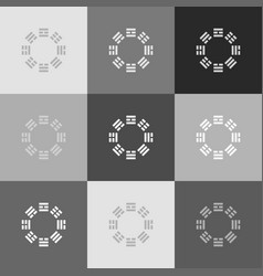 bagua sign grayscale version of popart vector image