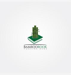 Bamboo book library icon template creative logo vector