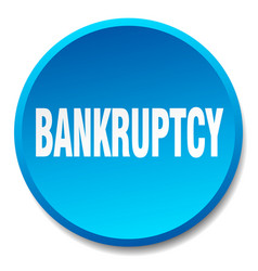 Bankruptcy blue round flat isolated push button vector