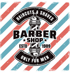 Barbershop emblem with barber pole and sample text vector
