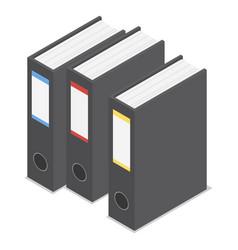 Black office folder icon set isometric style vector