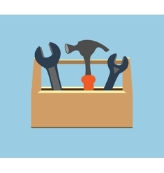 Box with tools Wrench and hammer vector image