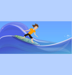 boy surfing on wave concept banner cartoon style vector image