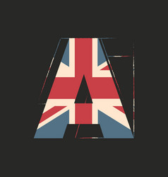 Capital 3d letter a with uk flag texture isolated vector