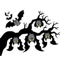Cartoon bats hanging on branch vector