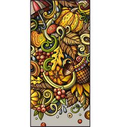cartoon cute colorful hand drawn doodles fall vector image
