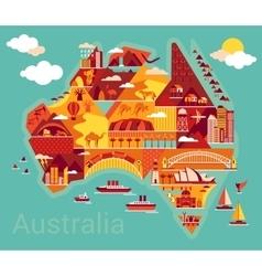 Cartoon map australia vector