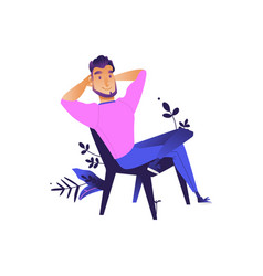 cartoon young man sitting at chair vector image