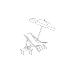 Chaise longue table parasol isolated deckchair vector