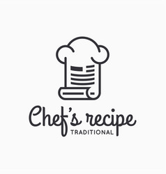 chef hat logo with recipe on white background vector image