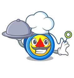 Chef with food yoyo mascot cartoon style vector