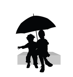 Children sitting under umbrella part one vector