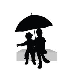 Children sitting under umbrella part one vector