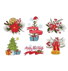 Christmas tree branchesflowersdecor group vector image