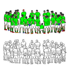 coach talking with soccer players for training vector image