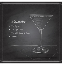 Coctail alexandr on black board vector