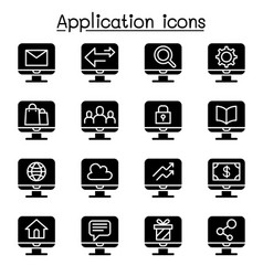 Computer application icon set vector
