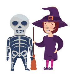 Couple with halloween skull and witch costumes vector