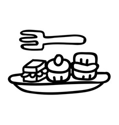 Cute afternoon tea cake and sandwiches clipart vector