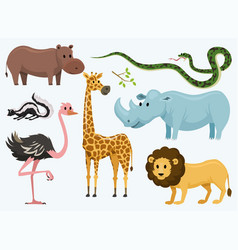 cute animals for baby wild giraffe rhinoceros vector image