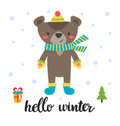 cute card with little bear hello winter vector image