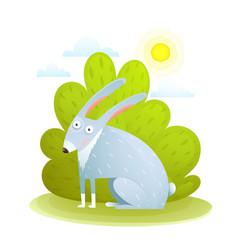 Cute kids rabbit in forest vector