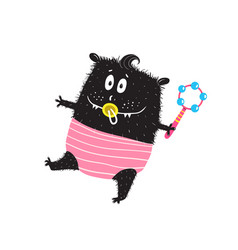 cute monster toddler kid character with dummy vector image