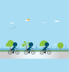 Cyclists riding bicycle on bike lane vector
