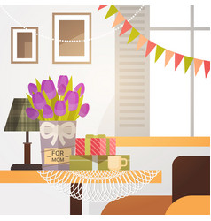 Decorated living room interior flowers for mom vector