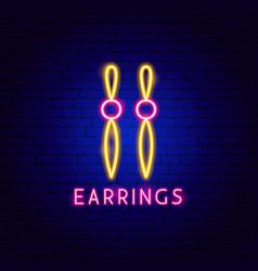 earrings neon label vector image