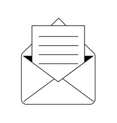 email with letter symbol isolated black and white vector image