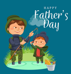 Father and son water fishing holding rod and vector