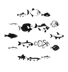 fish icons set simple style vector image