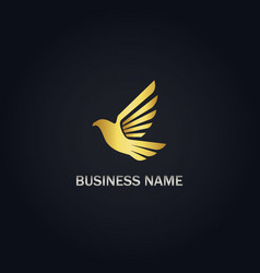 Fly bird dove gold logo vector