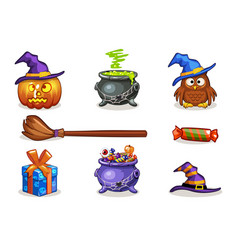 Funny cartoon halloween icons vector