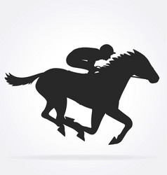 Galloping racehorse with jockey silhouette04 vector