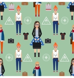 Girl hipster seamless pattern vector