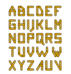 Gold construction alphabet vector