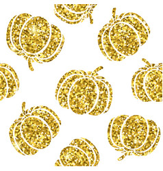 gold pumpkin silhouette on white background cute vector image