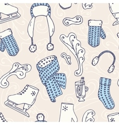 Hand drawn winter accessories seamless pattern vector image