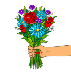 hand with flowers pop art vector image