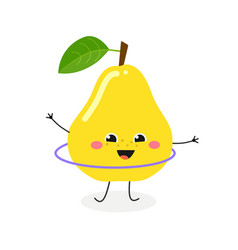 happy cartoon pear hula hooping vector image