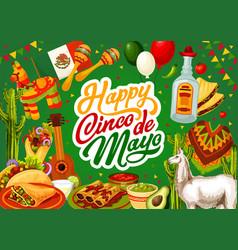 Happy cinco de mayo mexican tequila and guitar vector