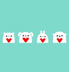 happy valentines day white cat kitten bear dog vector image