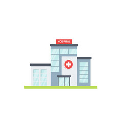 Hospital building flat style isolated on white vector