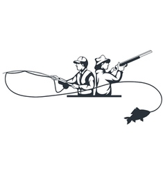 Hunter and fisherman vector
