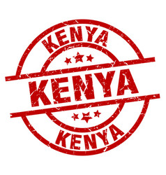 Kenya red round grunge stamp vector