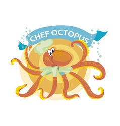 Kiddy cook octopus with banner vector