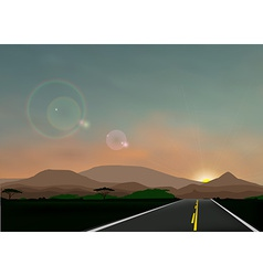 Landscape with sunset vector image
