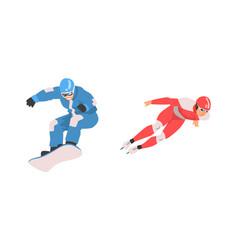 man character ice skating and snowboarding vector image